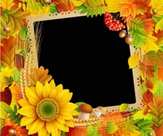 Beautiful Autumn Leaves Frame Background 03 Vector Background Vector Art