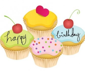Lovely Little Birthday Cake Vector Heart Vector Art