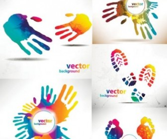 Beautiful Hands And Feet Silhouette Pattern Vector Pattern Vector Art