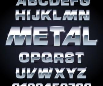 Metal Texture Font Design 01 Vector Vector Art