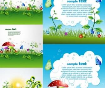 Beautiful Green Cartoon Background Vector Background Vector Art