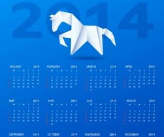 Calendar 2014 With A Paper Horse Vector Art
