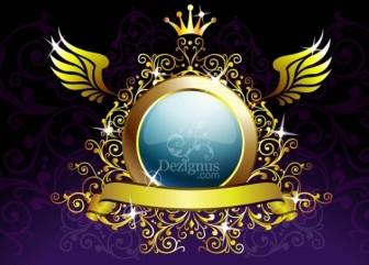 Gold Decoration Shield Vector Art