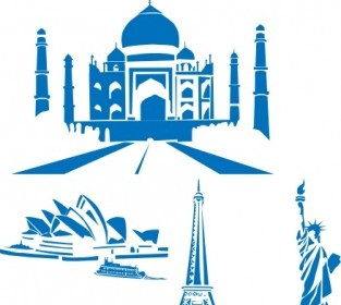 World Landmarks Egipt Paris Sydney Ny Taj Mahal Clip Art Vector Clip Art