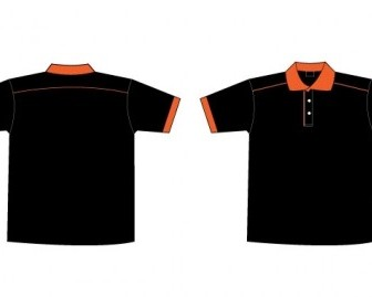 Free Black & Orange Collar TShirt Template Vector Art
