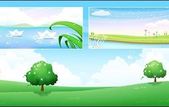 Tree On Grass, Flower Garden On Lake Side Landscape Vector Graphics