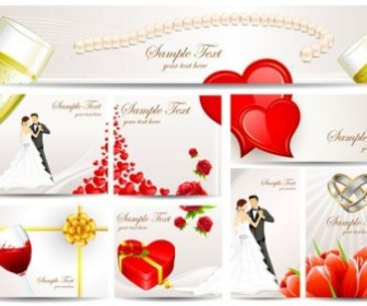 Exquisite Wedding Greeting Card Vector Vector Art