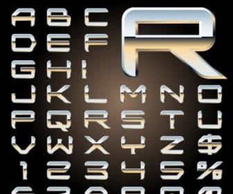 Metal Threedimensional Letters Design Series 08 Vector Vector Art