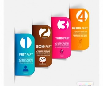 Abstract Business Paper Cut Infographics Number Template Vector Art