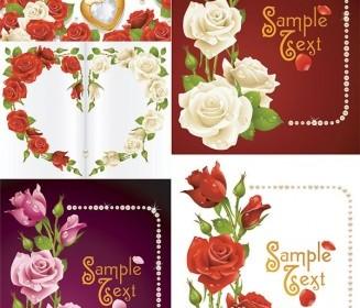 Romantic Roses Greeting Cards Vector Vector Art