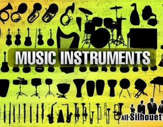 Music Instruments Silhouettes Vector Graphics