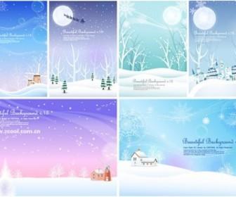 6 Winter Snow Background Vector Background Vector Art