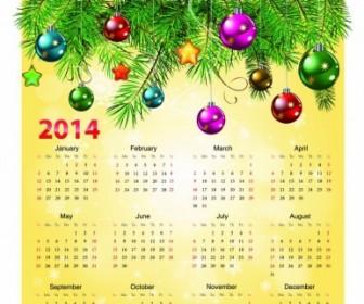 Calendar 2014 With Christmas Ball Vector Art