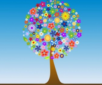 Flower Tree Vector Flower Vector Art