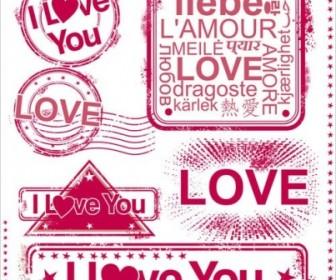 Romantic Love Stamp 01 Vector Vector Art