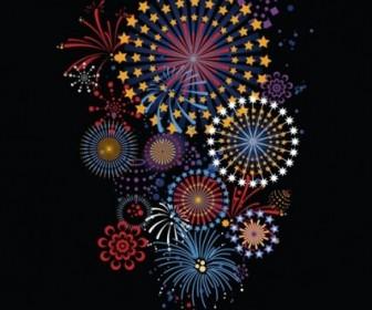 5 Vector Brilliant Fireworks Vector Art