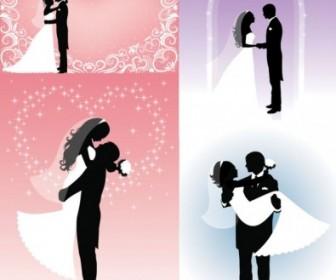 People Wedding Silhouette Vector People Vector Art