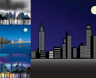 Vector Night City Under Vector Art
