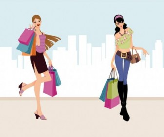 Fashion Shopping Girls Vector Art People Vector Art