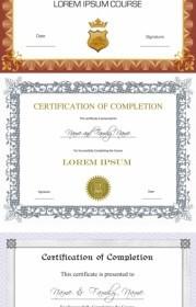 Three Certificate Design Vector Vector Art