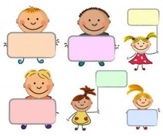 Placards Vector Cute Kids Vector Art