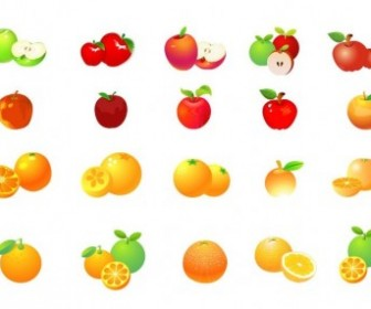Apple And Orange Vector Graphic Set Vector Art