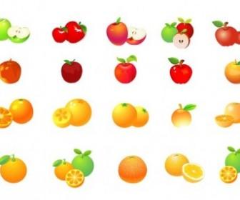 Apple And Orange Vector Graphic Set Vector Art