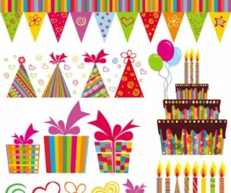 Exquisite Handpainted Elements Birthday 04 Vector Vector Art