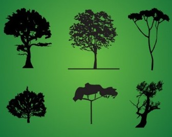 Tree Silhouette Pack Silhouettes Vector Graphics