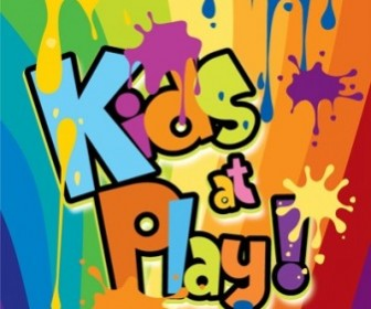 Kids At Play Background Color Of The Ink Spilled Wordart Background Vector Art