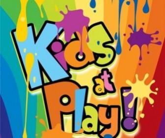 Kids At Play Background Color Of The Ink Spilled Wordart Background Vector Art