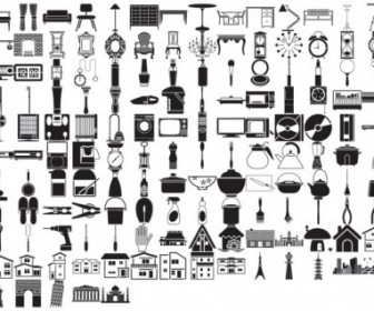 Various Elements Of Vector Silhouette Lifestyle 145 Elements Silhouettes Vector Graphics