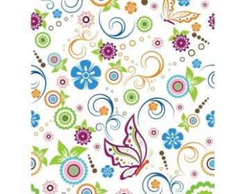 Floral And Butterfly Pattern Pattern Vector Art