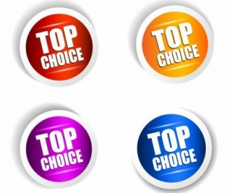 Top Choice Sticker Vector Set Vector Art