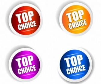 Top Choice Sticker Vector Set Vector Art