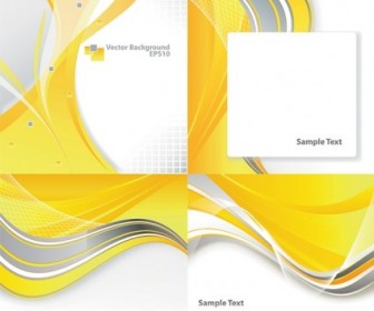 4 Dynamic Curves Yellow Background Vector Background Vector Art