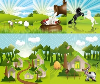 Vector Lovely Countryside Farm Landscape Vector Graphics