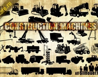 Vector Construction Machines Silhouettes Vector Graphics