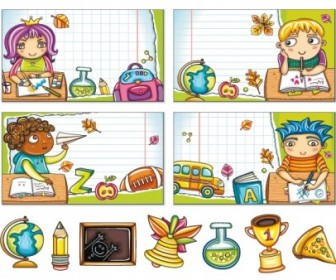 Cute Colorful Cartoon Boys And Girls 02 Vector Image Cartoon Vector Art