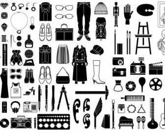 Various Elements Of Vector Silhouette Or Even Goods 99 Elements Silhouettes Vector Graphics