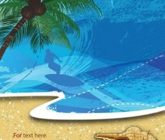 Summer Beach Background 05 Vector Background Vector Art