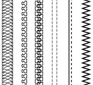 Free Fashion Design Brushes: Zippers & Stitching Vector Art