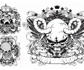 Skull Printed Pattern Vector Pattern Vector Art