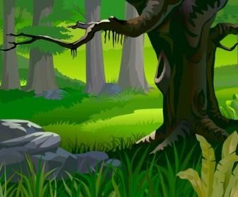Vector Forest Landscape Background Vector Art
