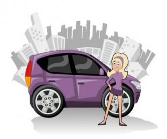 Vector Cute Characters And Car 02 Cartoon Vector Art