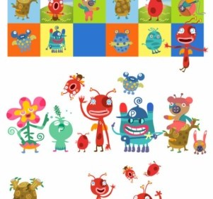Vector Cute Little Monsters Vector Art