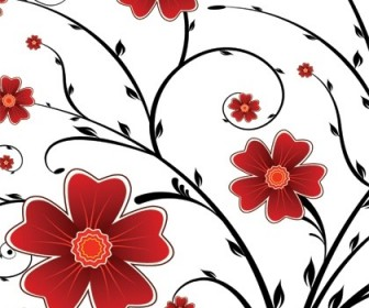 Vector Red Flower Background Graphics Floral Vector Art