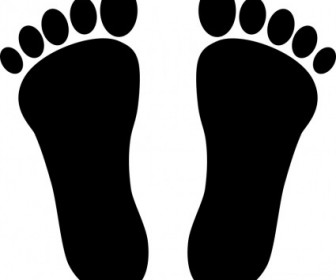 Vector Two Footprints Black Vector Clip Art