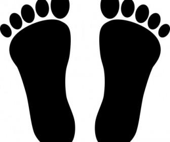 Vector Two Footprints Black Vector Clip Art