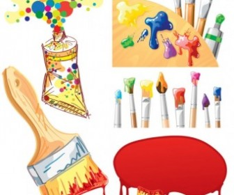 Vector Brush Painting Background Vector Art